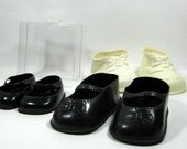 White Black Vintage Doll Shoes