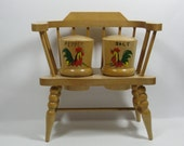 Shakers Vintage Wood Rooster Salt Pepper Set on a Small Wooden Chair 1950s Retro Shakers