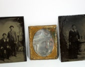 1800s Tin Types of Men and Women With Copper Tintype Frame Collectible Photography 100 years old