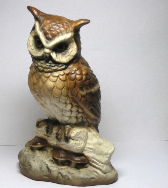 Owl Vintage Ceramic Owl with Natural Earth Tones