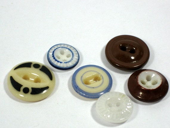 Victorian China Buttons Stencil Fisheye Pie crust Banded Inkwell Double Ring