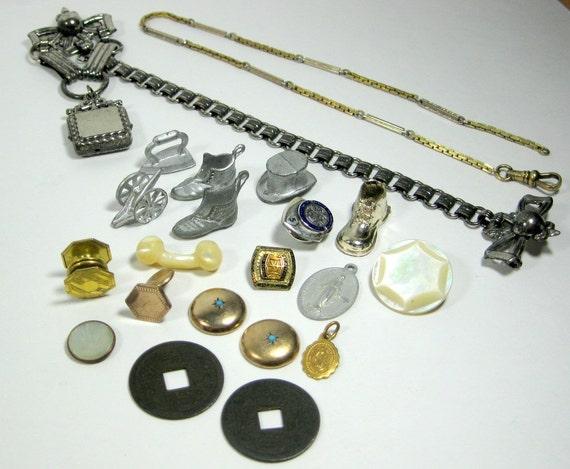 Vintage Destash charms cufflinks pendants game pieces and more treasures