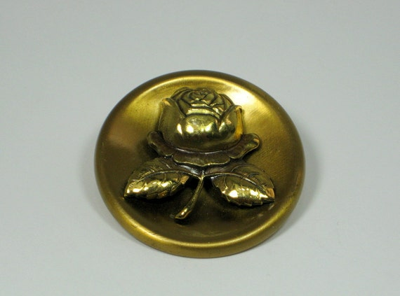 Large Vintage Brass Rose Button