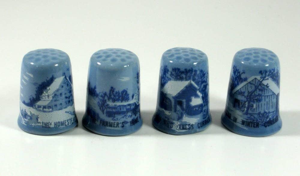 Blue Currier And Ives Porcelain Thimbles Set