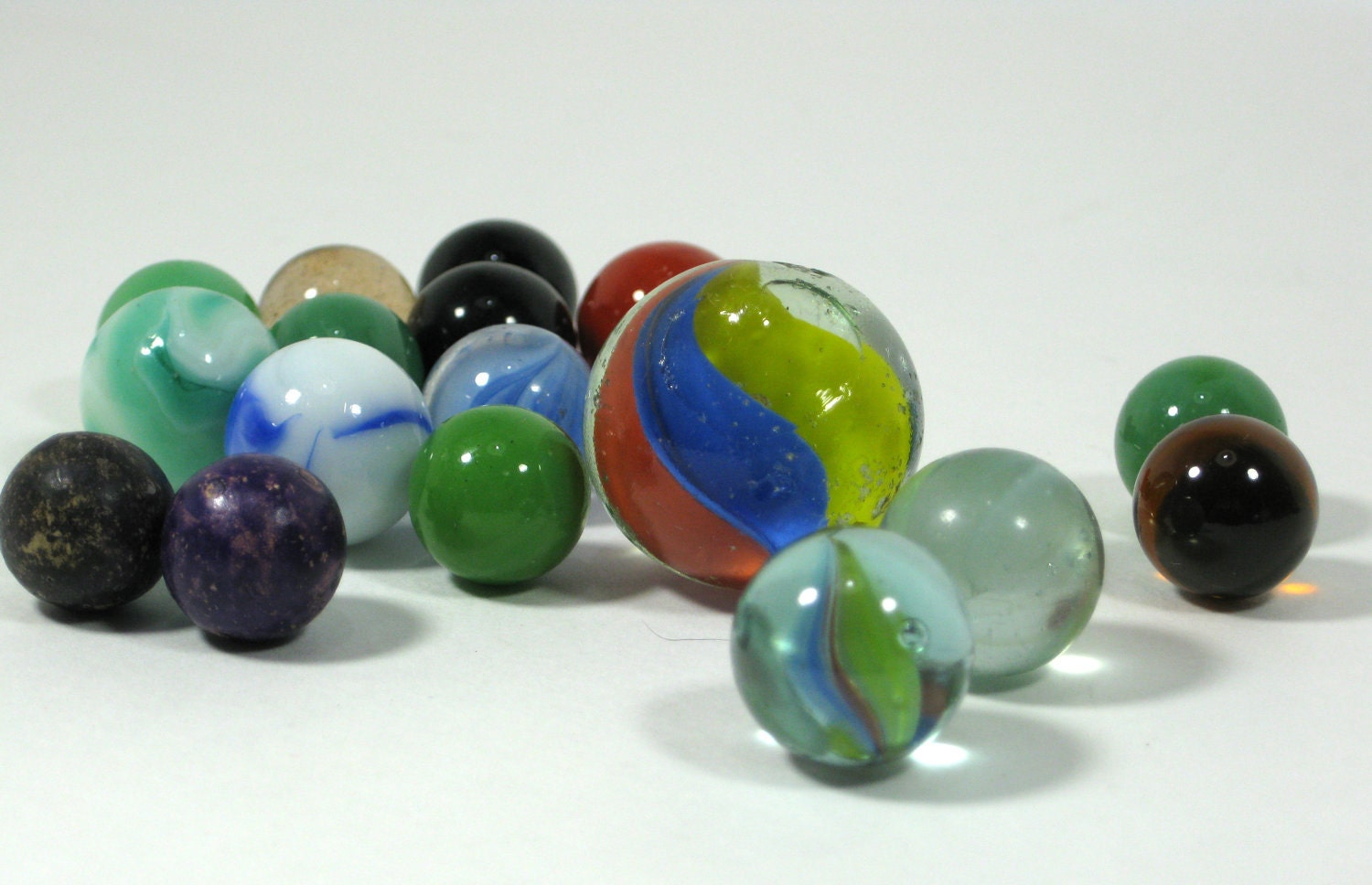 Antique Marbles Vintage Glass And Clay
