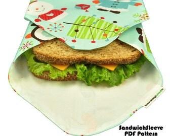 SandwichSleeve (Instant Download) PDF Pattern- make it TODAY- aGreenSleeve, Sandwich Wrap, Deli Wrap, Fat-Quarter Friendly