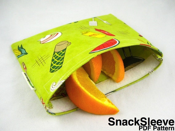 Original SnackSleeve (Instant Download) PDF Pattern- snack, sandwich, quart sizes- aGreenSleeve, snack bag, reusable bag, baggie