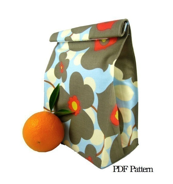 Folded LunchSleeve (Instant Download) PDF Pattern- aGreenSleeve- Lunch Bag, Lunch Sack, Reusable Sack, Rolled Top, Brown Bag