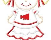 Little Cheerleader Machine Applique Design INSTANT DOWNLOAD