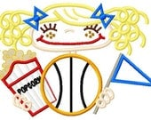 007 Basketball Pigtail Girl Applique Design 5x7 and 6x10 INSTANT DOWNLOAD