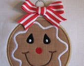 Gingerbread Christmas Ball Applique Design 5x7 and 6x10 INSTANT DOWNLOAD
