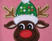 Rudie the Reindeer Applique Design 4x4 5x7 6x10 INSTANT DOWNLOAD