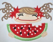Melon Head Girl Machine Applique Designs INSTANT DOWNLOAD