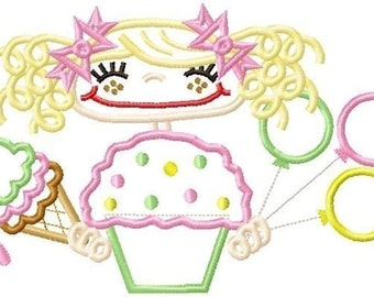 014 Birthday Girl Applique Design 5x7 and 6x10 INSTANT DOWNLOAD