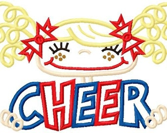 Pigtail Cheerleader Applique Design 5x7 and 6x10 INSTANT DOWNLOAD