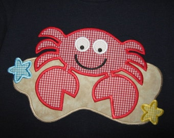 Beach Crab Applique Embroidery Design INSTANT DOWNLOAD
