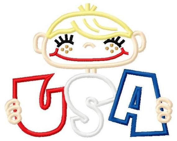 Patriotic USA Boy and Girl 5x7 Applique Designs INSTANT DOWNLOAD