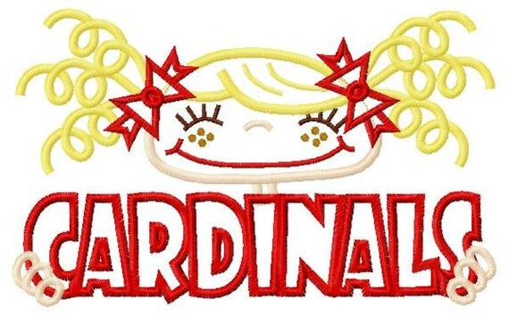 028 Cardinals Pigtail Cheerleader-Football Fan Applique Design 5x7 and 6x10 INSTAND DOWNLOAD
