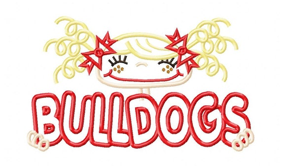 023 Bulldogs Pigtail Girl or Sports Fan Applique Design 5x7 and 6x10 INSTANT DOWNLOAD