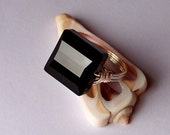 Swarovski Crystal Sterling Silver Wire Wrapped Ring - Black Square Stairway Cocktail Ring