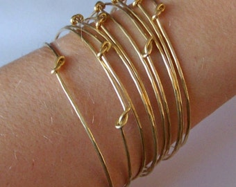 Gold Stacking Bangles - Set of 5 Thin Knotted Stackable Brass Bangles - Solid Brass Stackable Bangle Bracelets- Made to Order