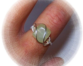 Sterling Silver Ring - New Jade Focal - Wire Wrap Ring - Genuine Gemstone Wire Wrapped Ring - Made to Order