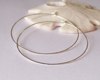 Sterling Silver Hoop Earrings - Hammered XXL 2.25 inch - Made to Order