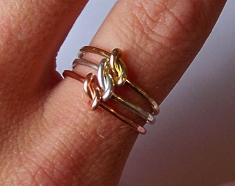 Stacking Rings - German Silver - Copper - Brass - 3 Mixed Metal Stackable Rings - or 3 Rings in Same Metal - Midi Rings - Knuckle Rings