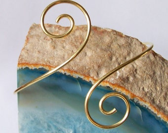 Armlet - Upper Arm Jewelry - Arm Band - Smooth Small SwirlUpper Arm Bracelet - Available in Brass Bronze Copper or German Silver