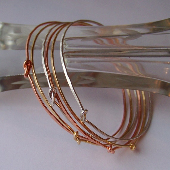 Stackable Bangles - 6 Bangle Bracelets - 2 Sterling Silver 2 Copper 2 Brass - Natural Shine or Oxidized - Stacking Bangles - Made to Order