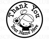 Custom rubber stamps Clear Polymer with Thank You Girl 3 - Mounted