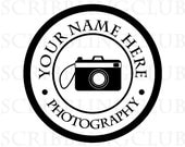 Custom Rubber Stamp - Personalized Name Etsy Shop Stamp Featuring Camera- Clear & Mounted
