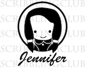 Personalized Name Clear Rubber Stamp - Girl 2 - Mounted