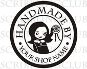 Custom Rubber Stamp Clear Polymer - Handmade by  -Cute - Featuring Violet  Holding her Favorite Button - Mounted