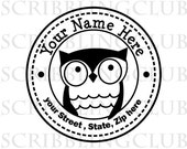 Custom Address  Stamp -  Owl so Cute design Too- Clear Polymer  - Mounted