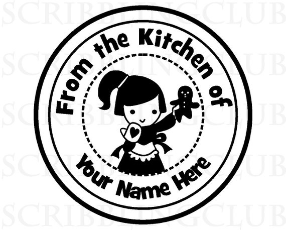 Clear  Stamp - with  Baker Girl and Gingerbread Man -     Custom - Mounted