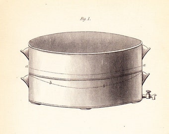Antique Vintage Bee Print dated 1840 . Honey Drainer, Fumigating Pipe, Feeding Trough . original old engraving plate