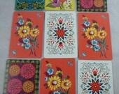Set of 9 Vintage Flower Floral Playing Cards Swap