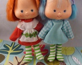 Vintage 1980s Strawberry Shortcake and Blueberry Muffin Dolls Hong Kong
