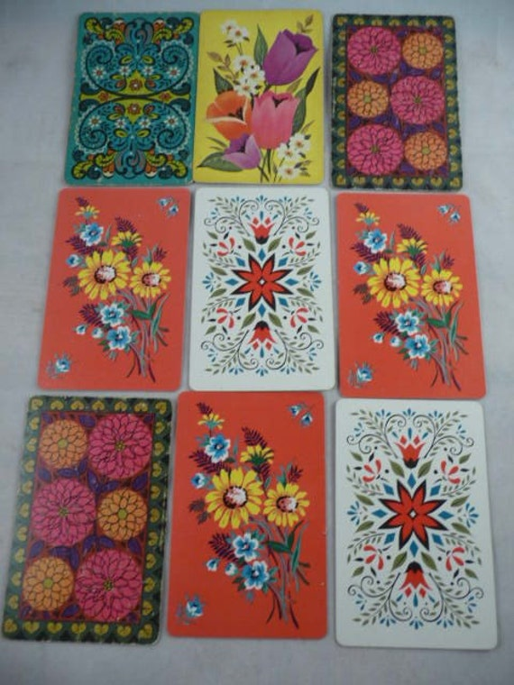 Set of 9 Vintage Flower Floral Playing Cards Swap