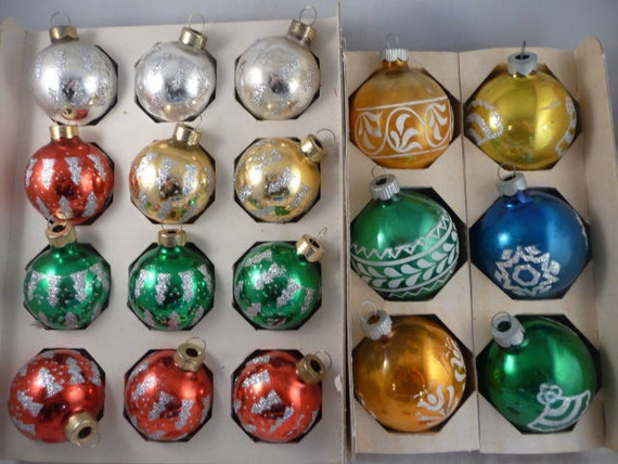18 Gorgeous Stenciled Vintage Shiny Brite Made in the USA and Rauch Ornaments