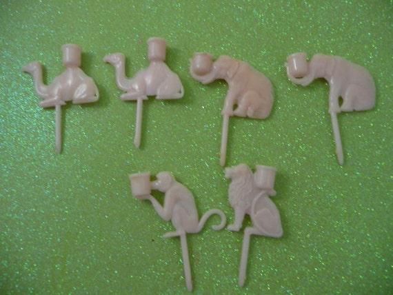 Lot of 6 Vintage Pink Plastic Circus Animal Birthday Party Candle Holders
