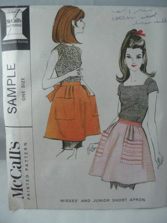 Vintage McCalls Pattern Sample misses & junior short apron - c1966