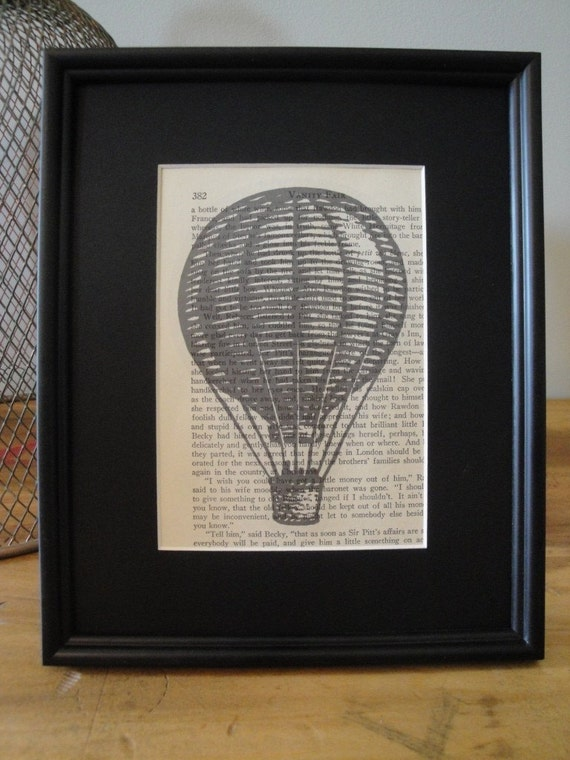 FRAMED - Vintage Book Page Print - Hot Air Balloon