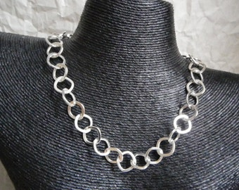 Sqaure Linked Sterling Silver Necklace