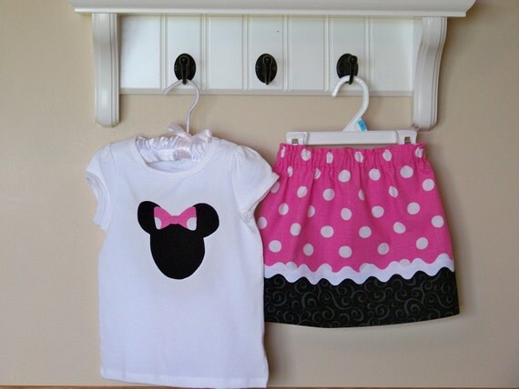 Minnie Mouse inspired Shirt and Skirt 12 months to 5T