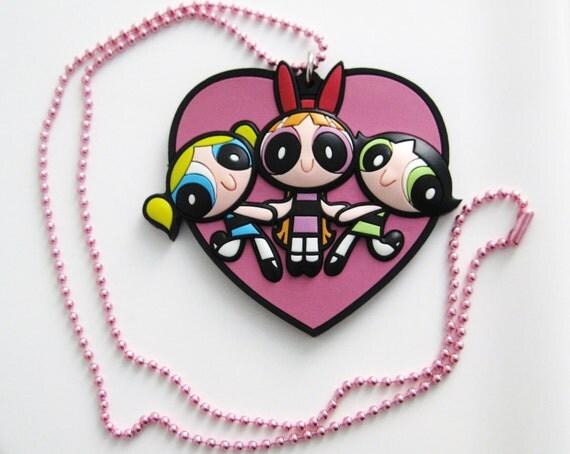 BIG PowerPuff Girls Rubber Pendant Necklace - 24 inch chain length