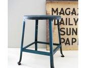 Vintage Metal Short Stool - Blue