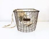 Vintage Wavy Wire Basket With Brass Number Tag