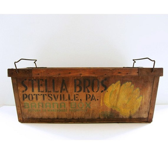 vintage banana crate by luckylittledot on etsy